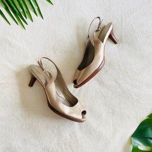 Cole Haan •Gold Slingback heels•